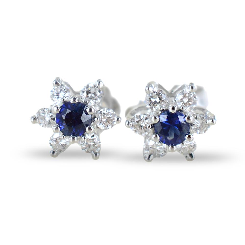 Orecchini a stella in oro e diamanti con zaffiri ct. 0.28