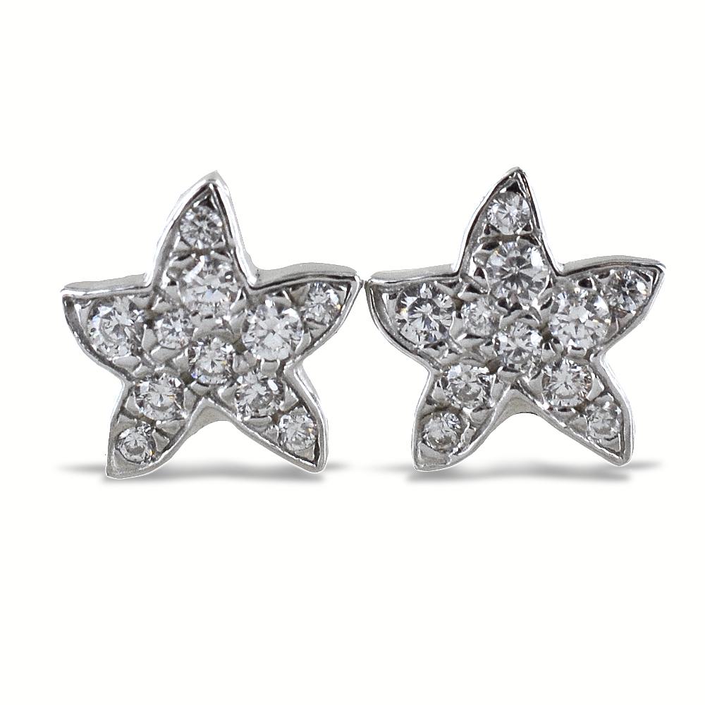 Orecchini a stella marina in argento e pave di zirconi bianchi