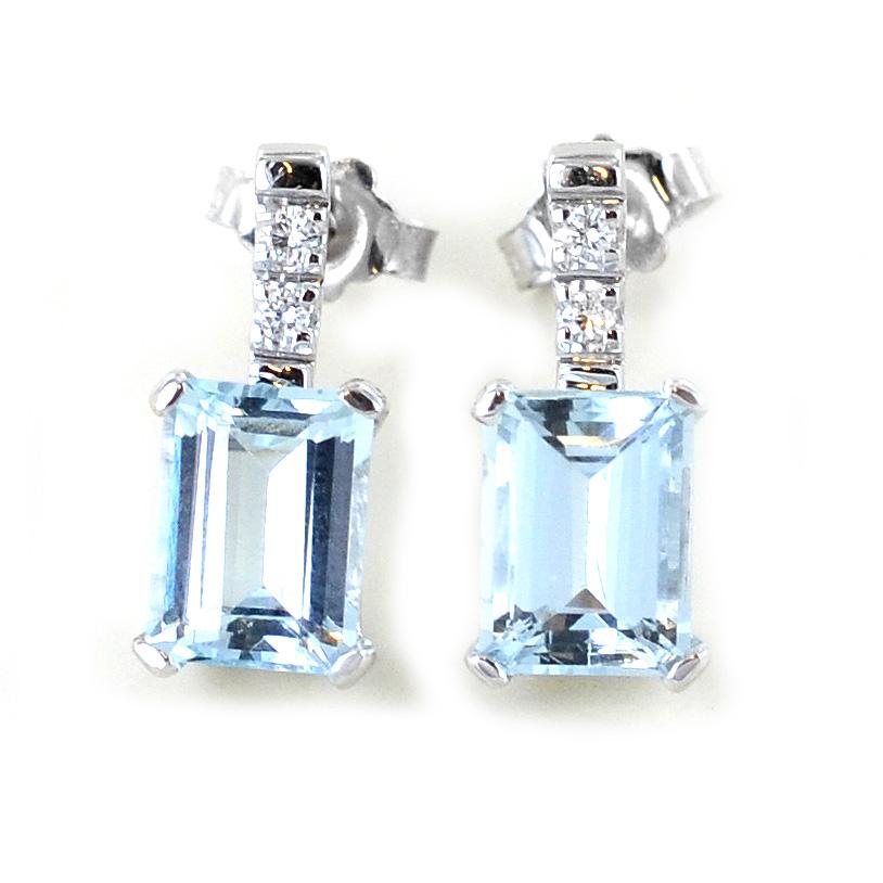 Orecchini Acquamarina e Diamanti - carati 2,77