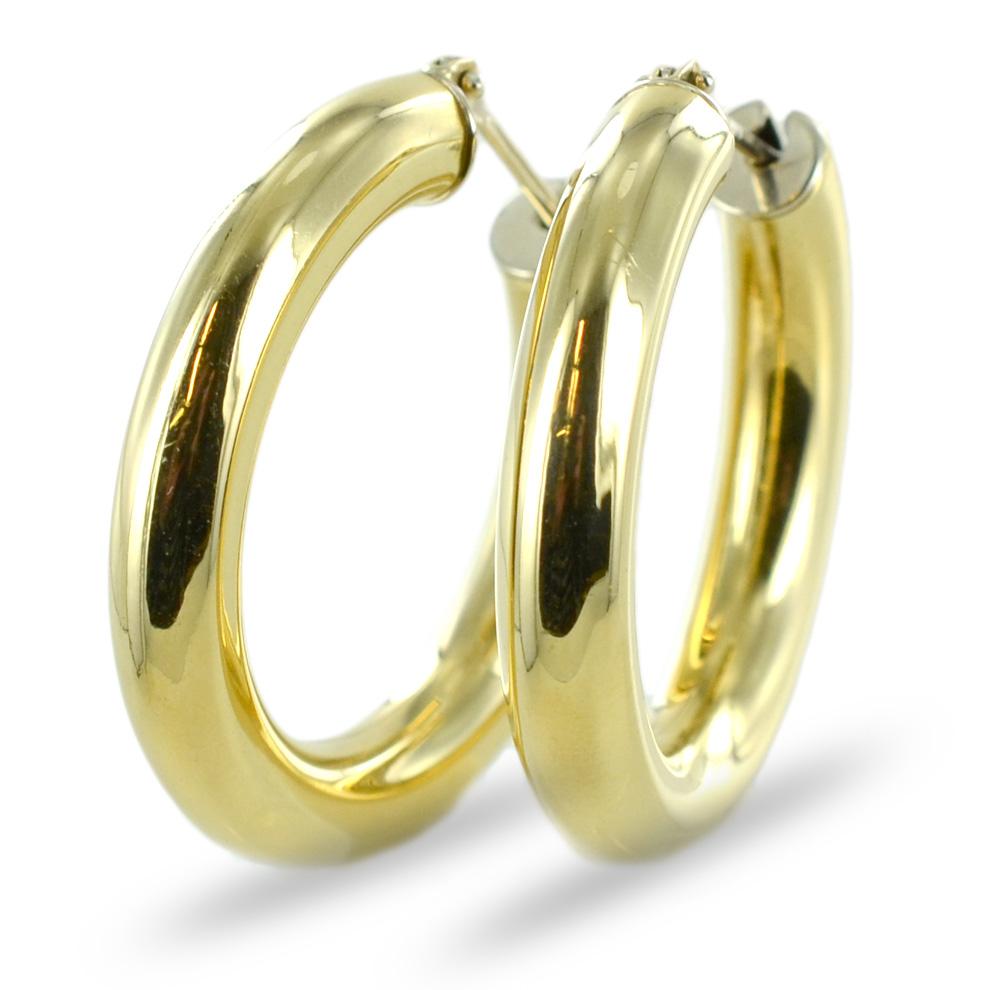 Orecchini campanella a cerchio bombati in oro giallo