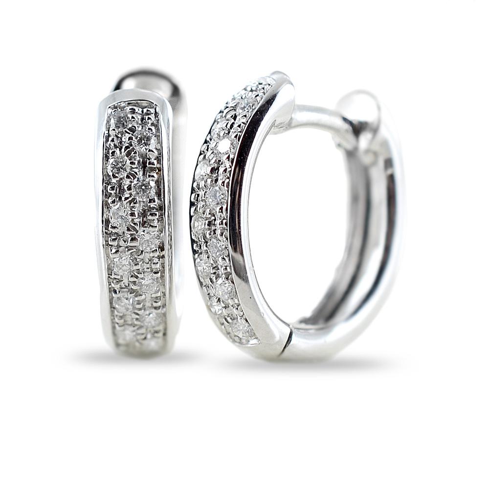 Orecchini Campanella ovale media in oro e diamanti ct 0.12 G Gioielli Valenza