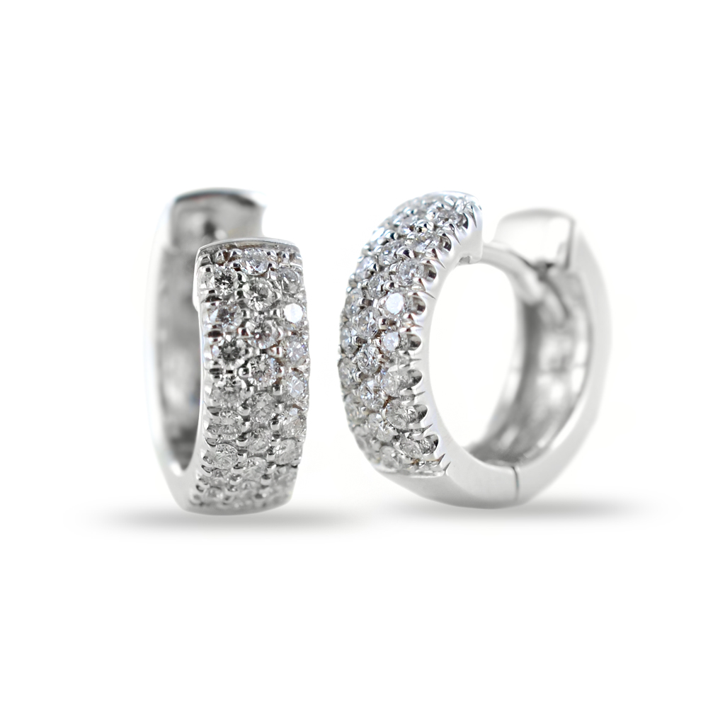 Orecchini Campanella ovale piccola in oro e diamanti ct 0.26 G Gioielli Valenza