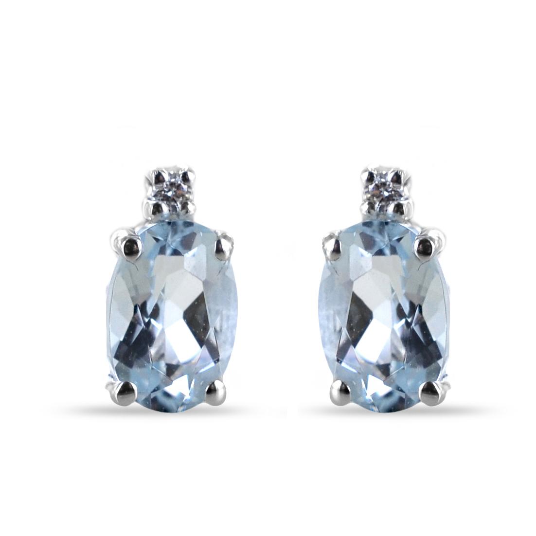Orecchini con Acquamarina ovale e diamanti Orsini Gioielli
