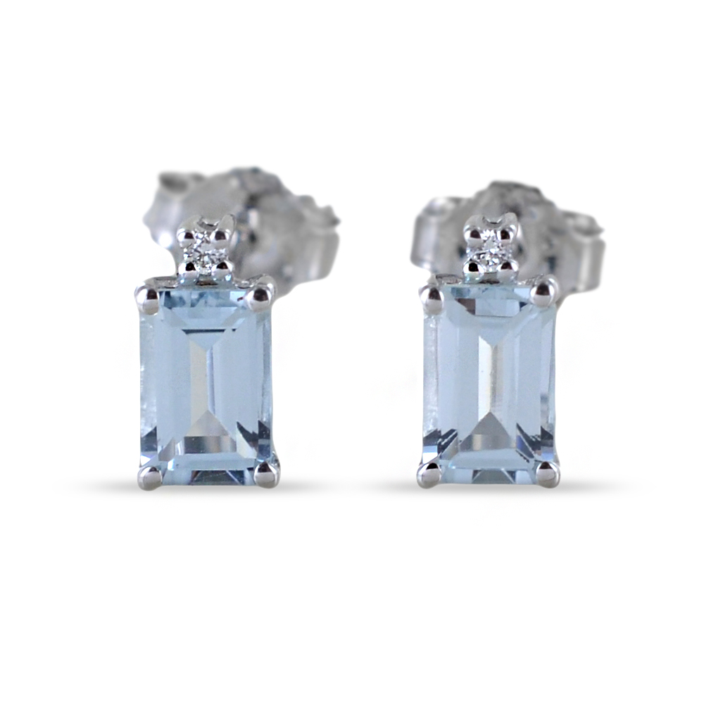 Orecchini con Acquamarina rettangolare e diamanti Orsini Gioielli
