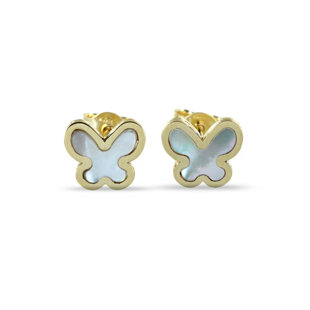 Orecchini con farfalle in oro e madreperla