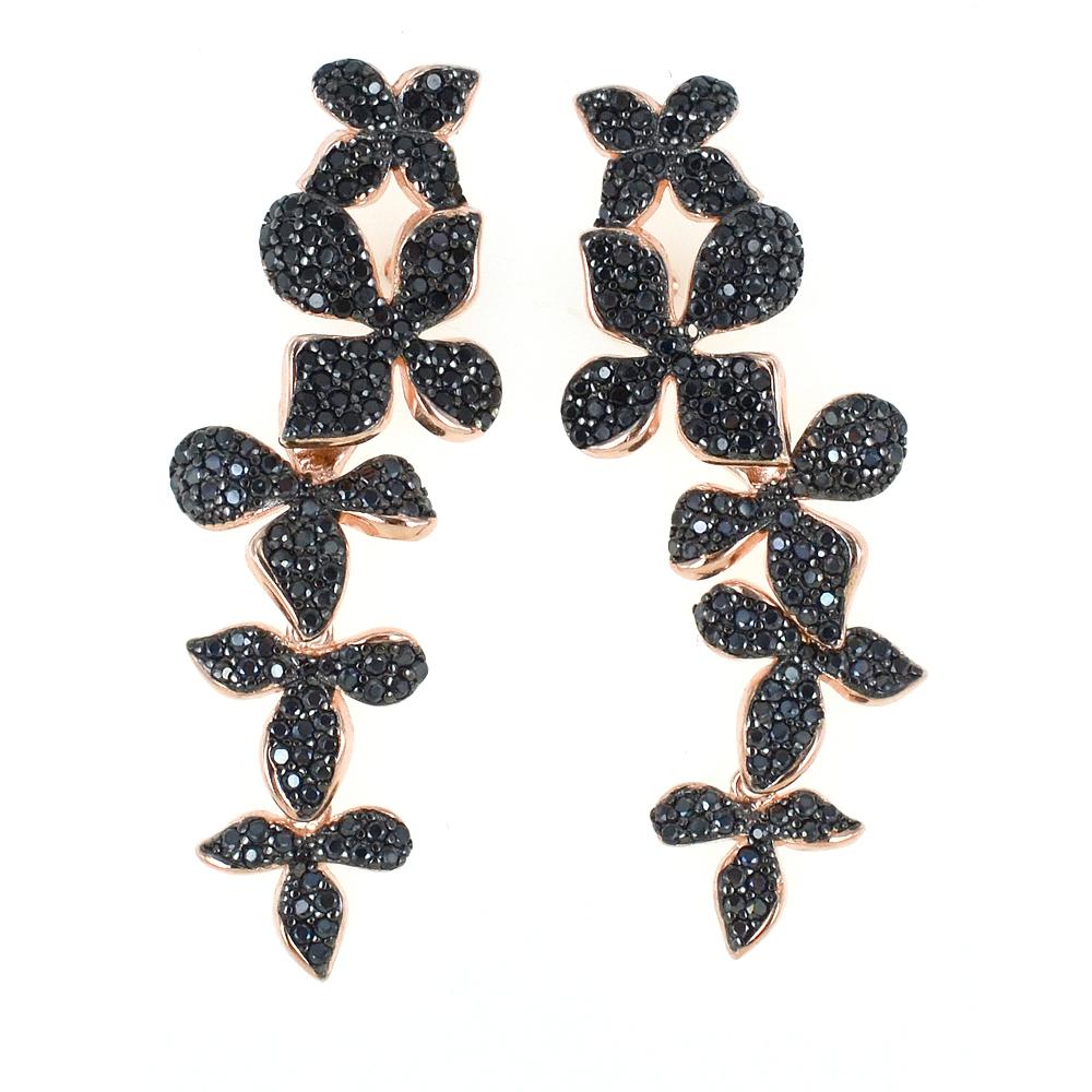 Orecchini con pendente lungo fiori neri in argento e zirconi GIOIELLI SAMUI