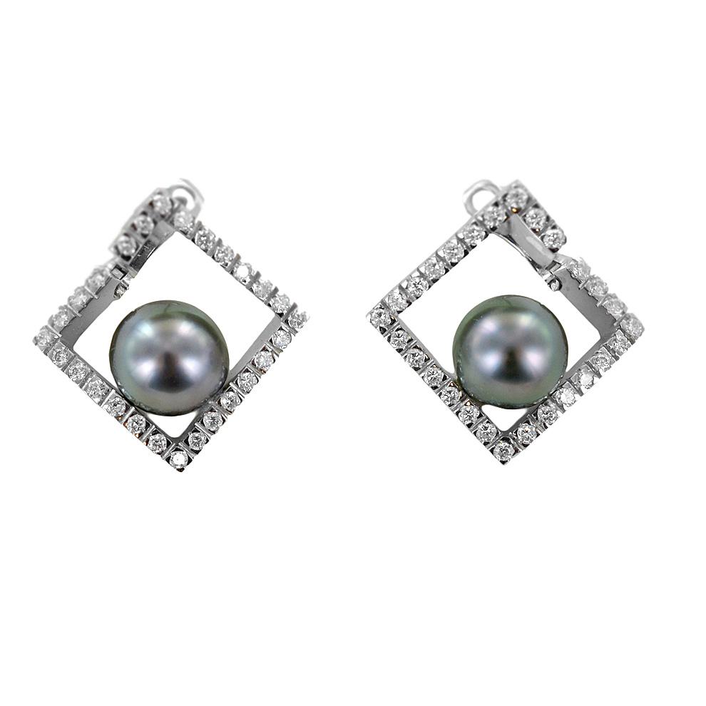 Orecchini con perla Tahiti collezione Mondrian by Damiani