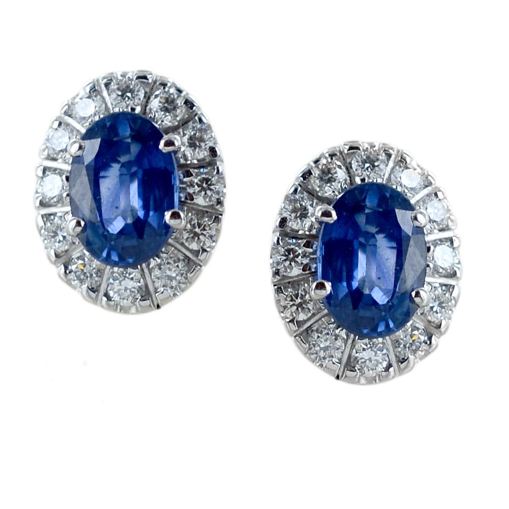 Orecchini con Zaffiri e contorno di Diamanti - modello grande