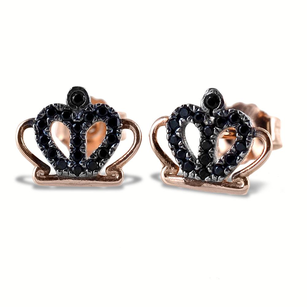 Orecchini Corona in argento rosa e zirconi neri