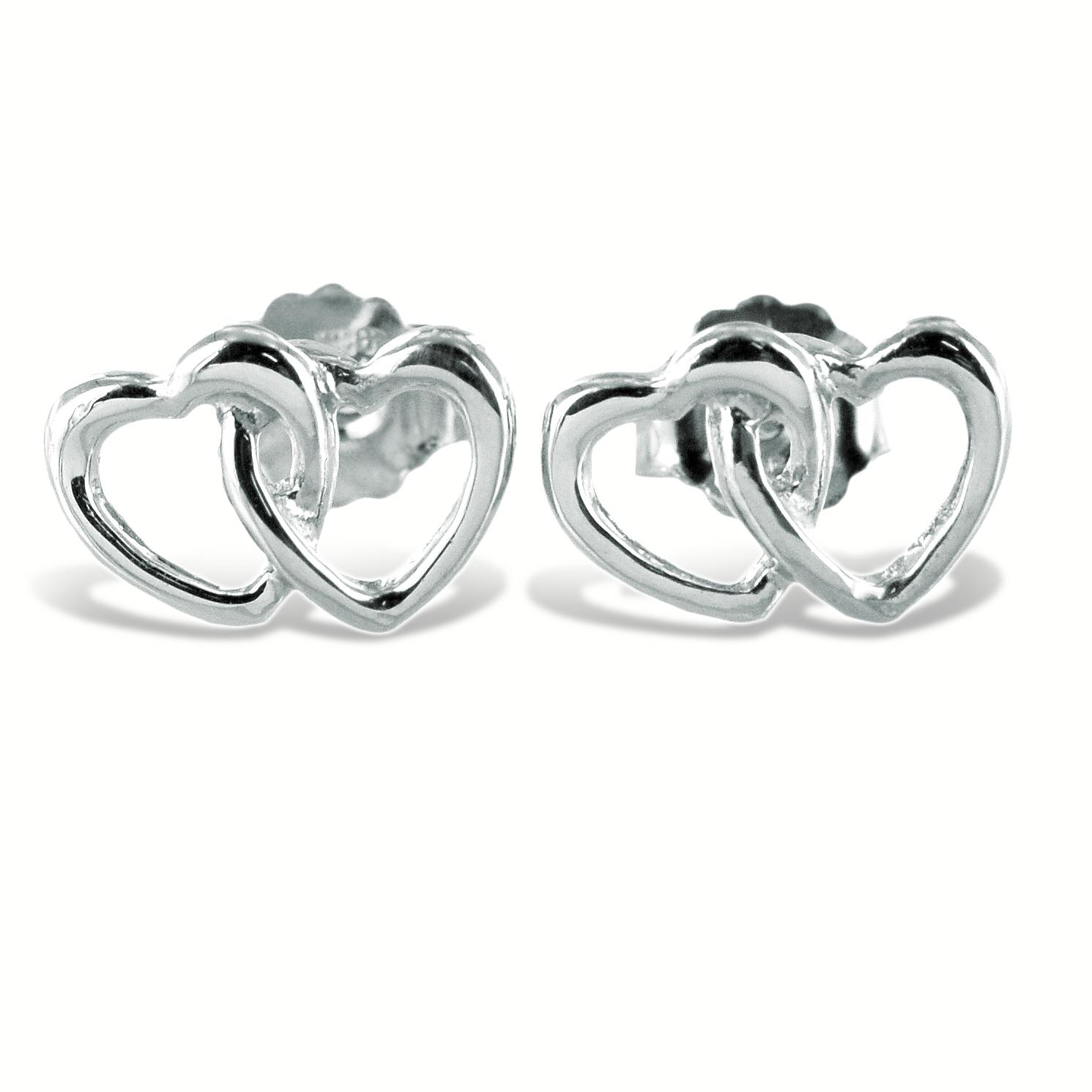 Orecchini doppio cuore intrecciato in argento
