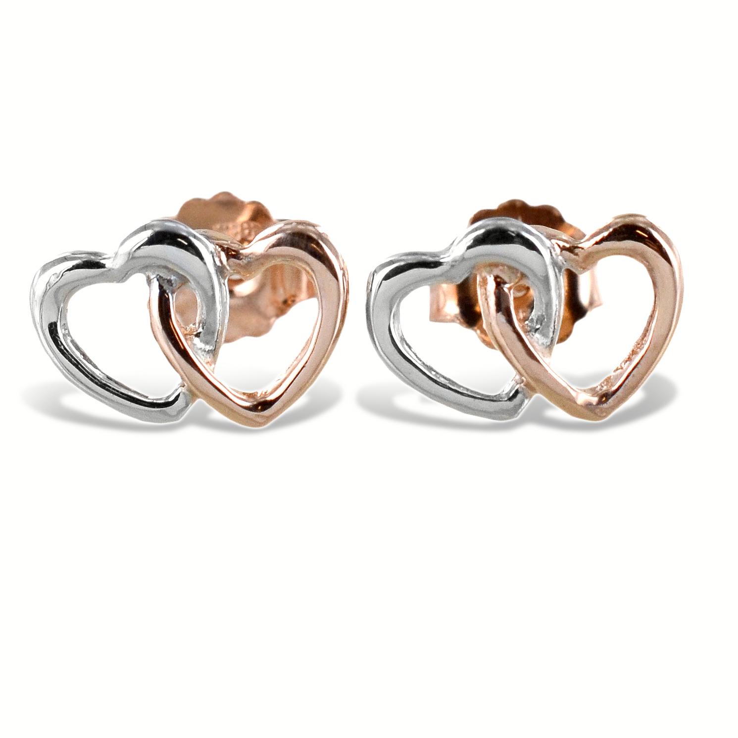 Orecchini doppio cuore intrecciato in argento rose
