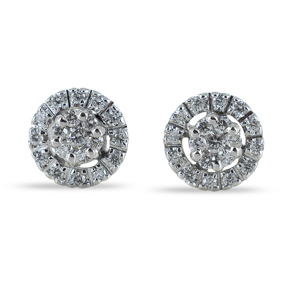 Orecchini effetto punto luce con contorno di diamanti carati 0.34 G