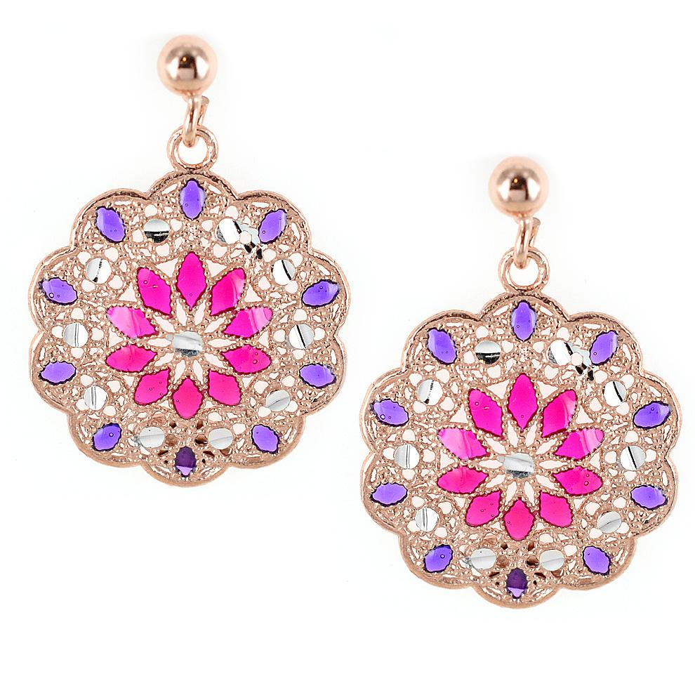 e135387e42971a Orecchini in argento con pendente fiore e smalti viola e rosa collezione  Notre Dame