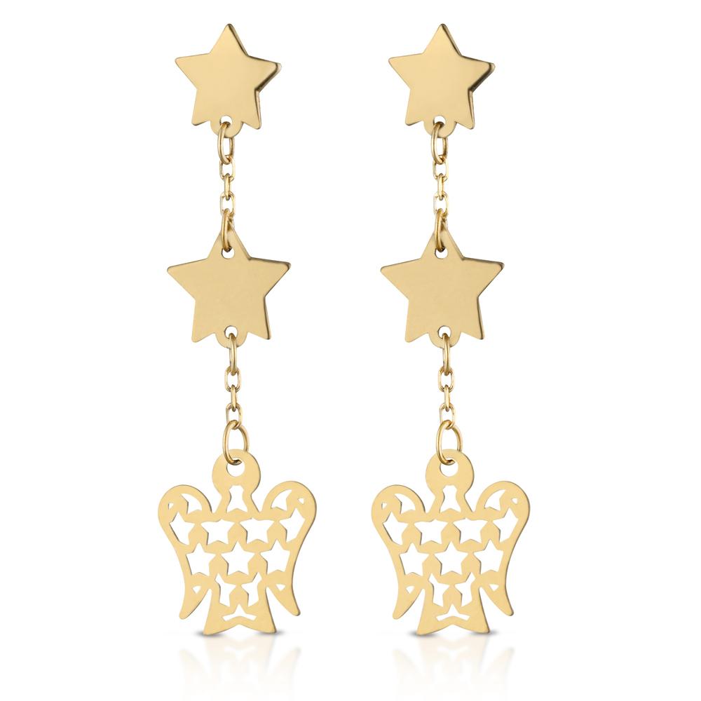 Orecchini in oro 9 kt a pendente Angioletto e stelle NKT285