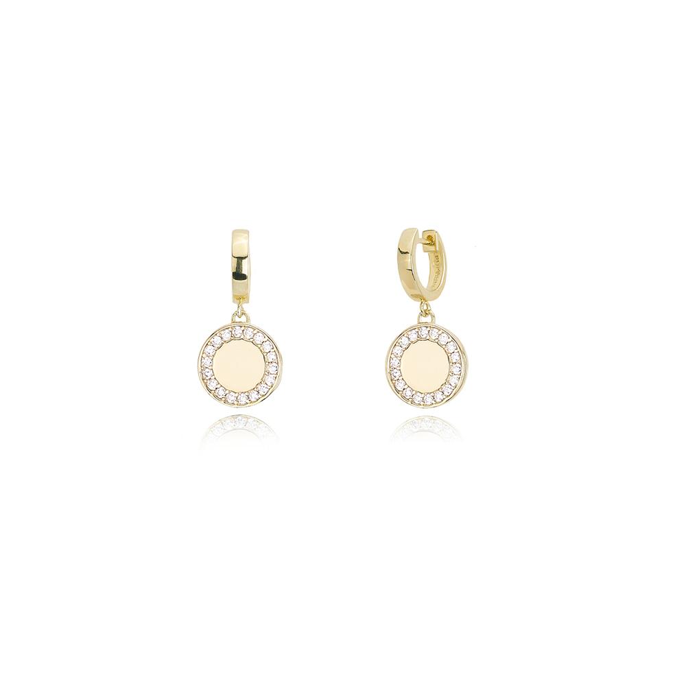 Orecchini Mabina in argento dorato a Pendente con Zirconi 563271