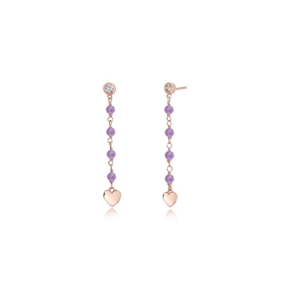 Orecchini Mabina pendente in Argento rosato con Cuori Zirconi e Ametista 563273