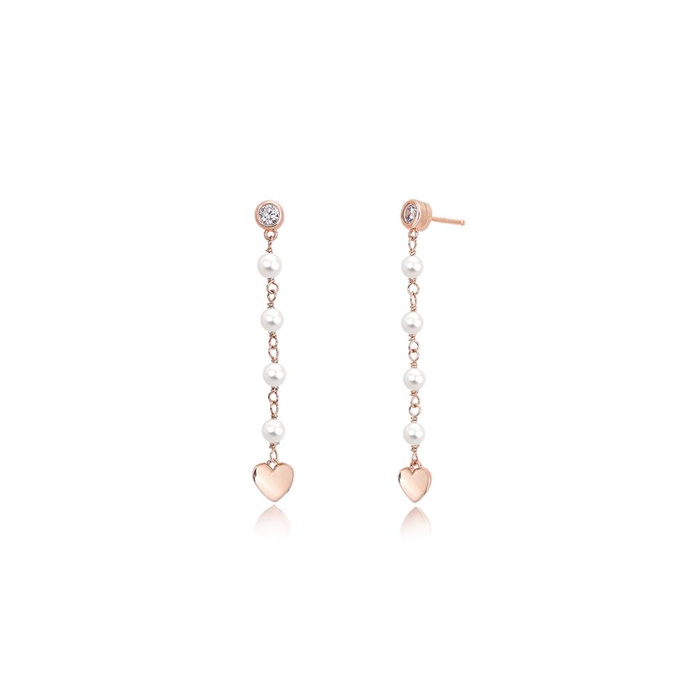 Orecchini Mabina pendente in Argento rosato con Cuori Zirconi e perle 563275