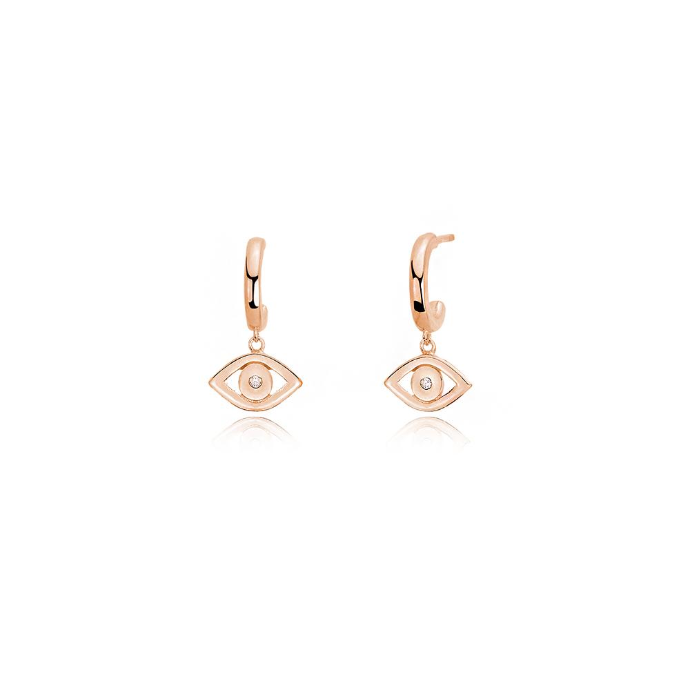 Orecchini Mabina pendente in Argento rosato con occhio greco e zirconi 563280