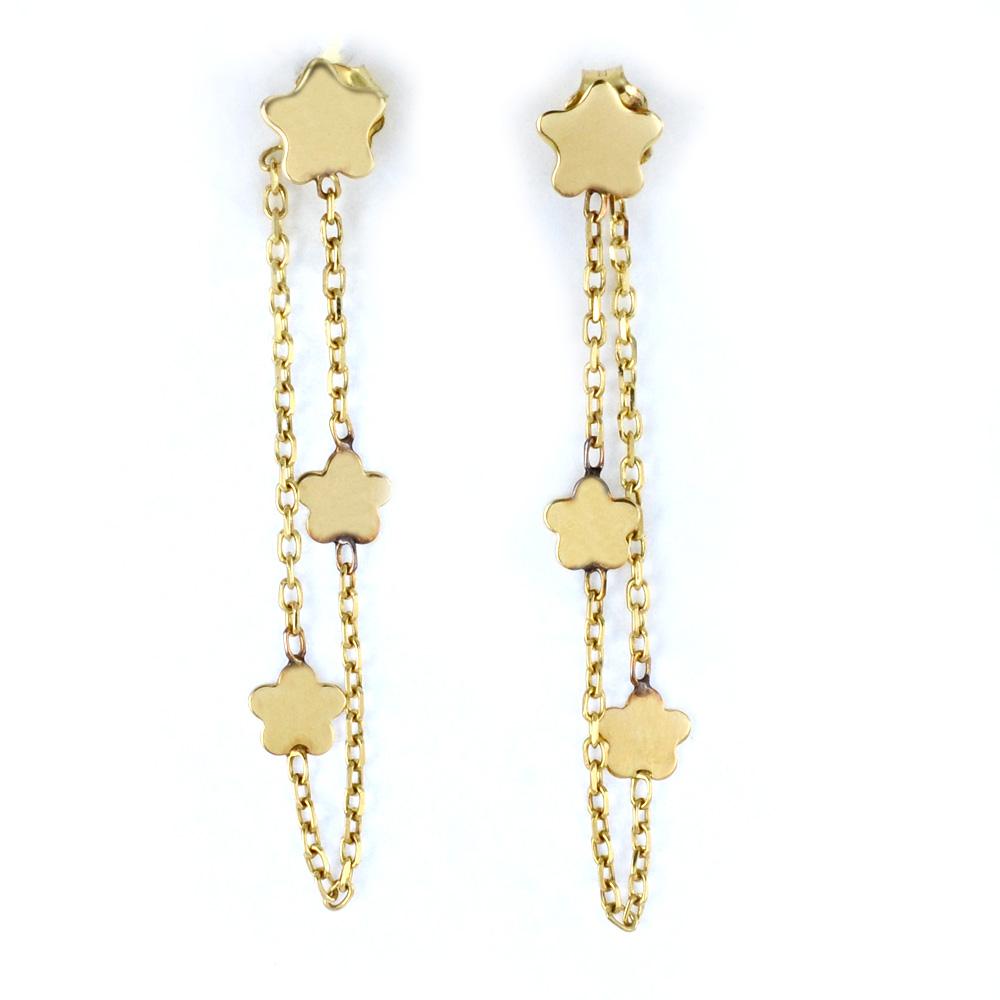 Orecchini pendente con margherite in oro giallo