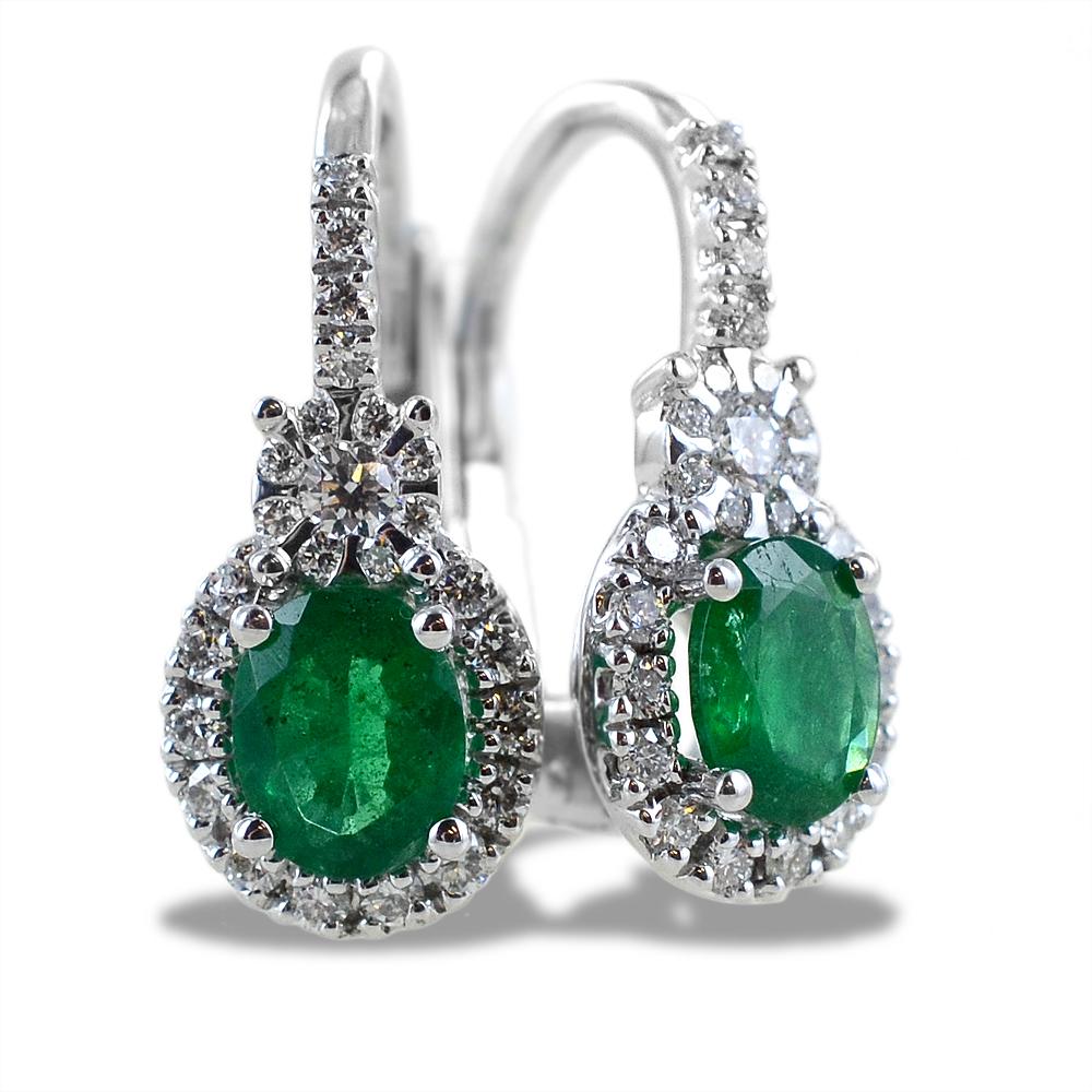 Orecchini pendente in oro con diamanti e smeraldi taglio ovale