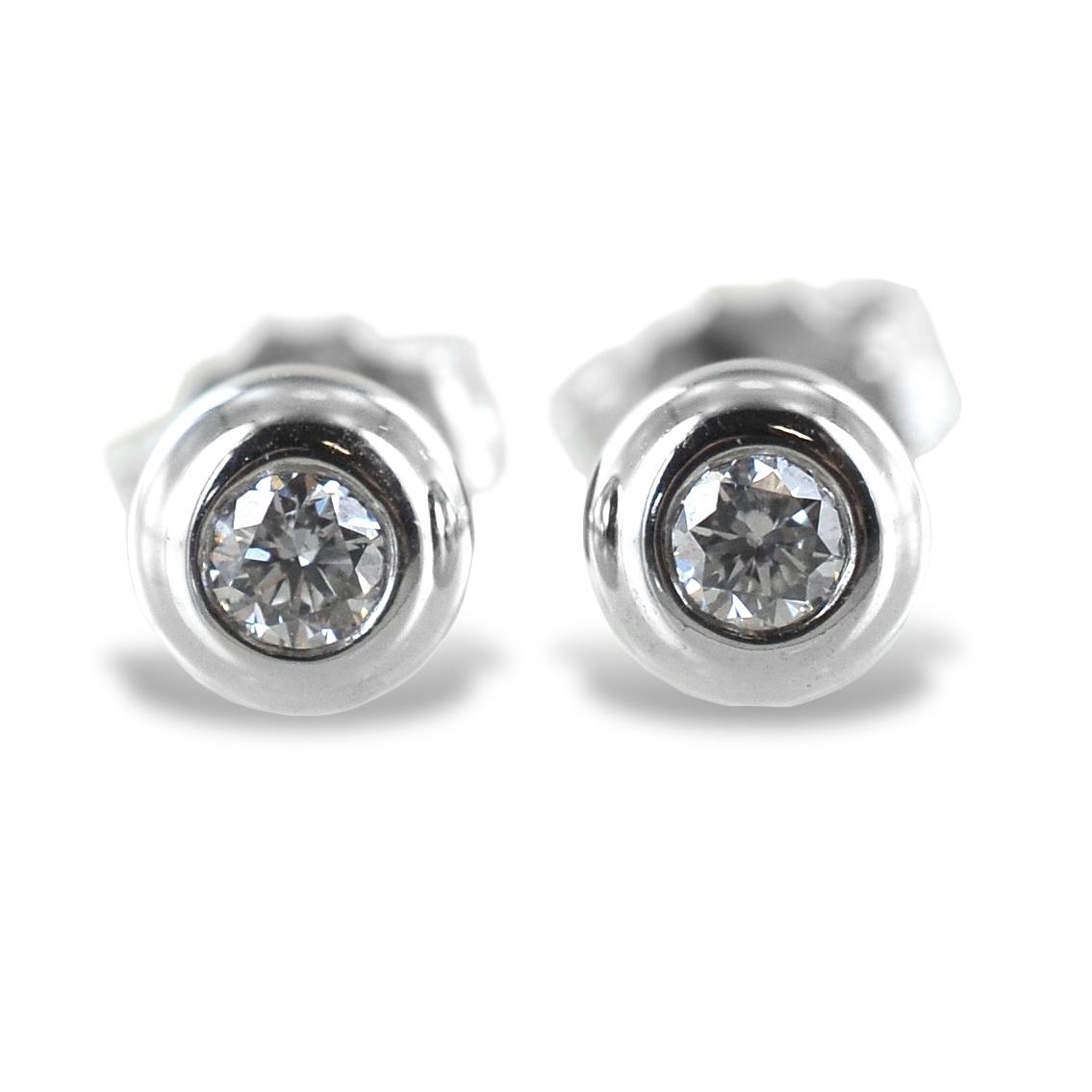 Orecchini punto luce Cipollina grande in oro bianco e diamanti ct. 0.12 G VS
