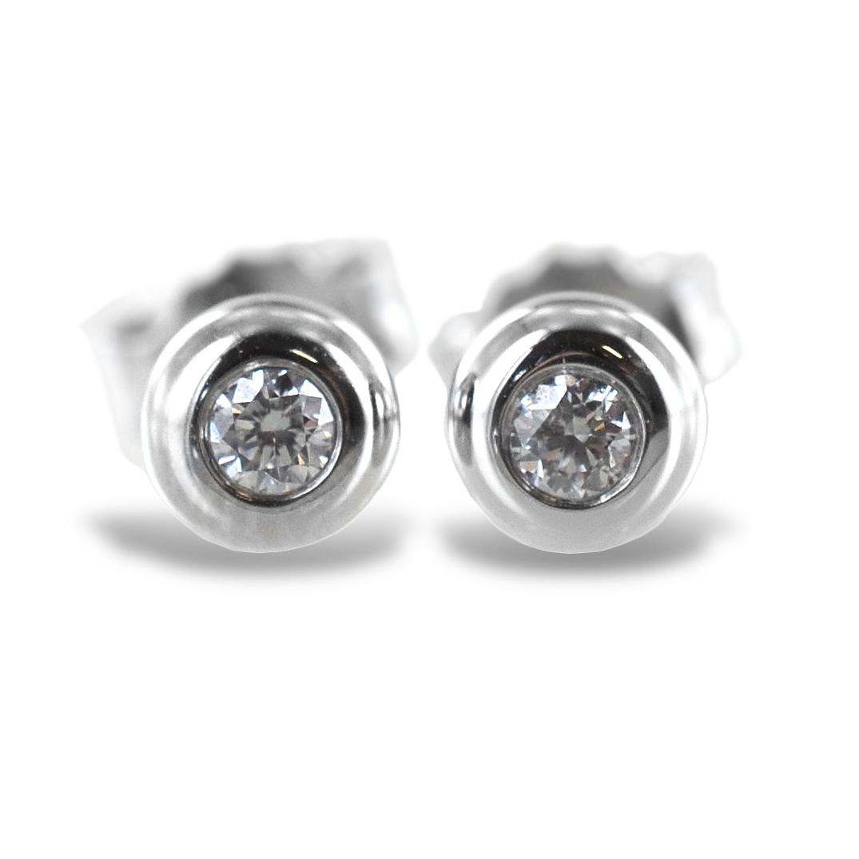 Orecchini punto luce Cipollina media in oro bianco e diamanti ct. 0.10 G VS