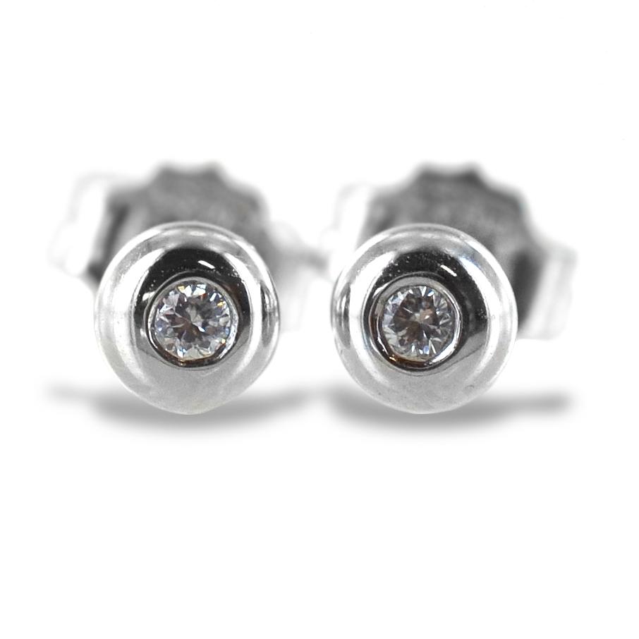 Orecchini punto luce Cipollina piccola in oro bianco e diamanti ct. 0.04 G VS