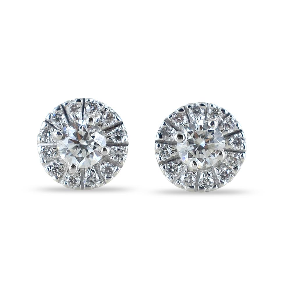 Orecchini punto luce con contorno di diamanti carati 0.58 G