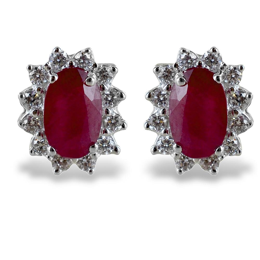 Orecchini Rubino Rosetta diamanti modello Maharaja Gioielli Raaja