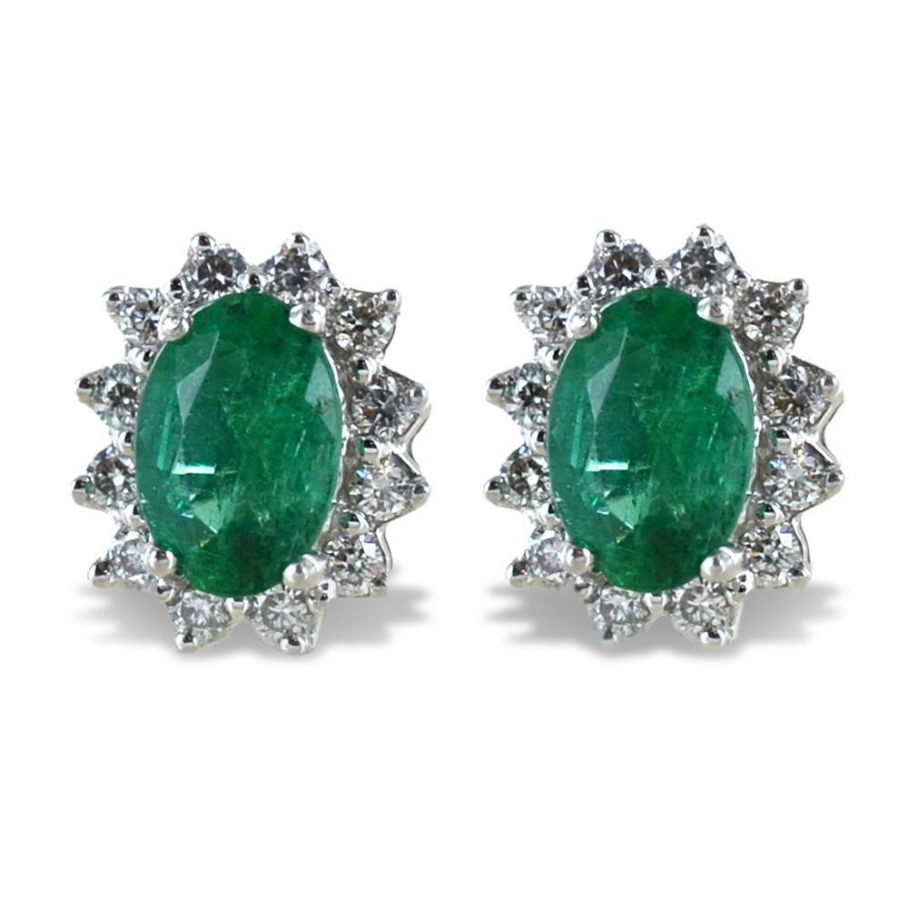 Orecchini Smeraldo Rosetta diamanti modello Maharaja Gioielli Raaja