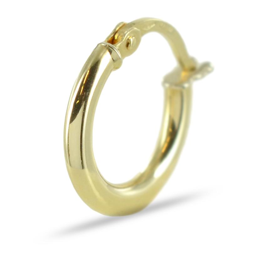 Orecchino a cerchio da uomo campanella media in oro giallo
