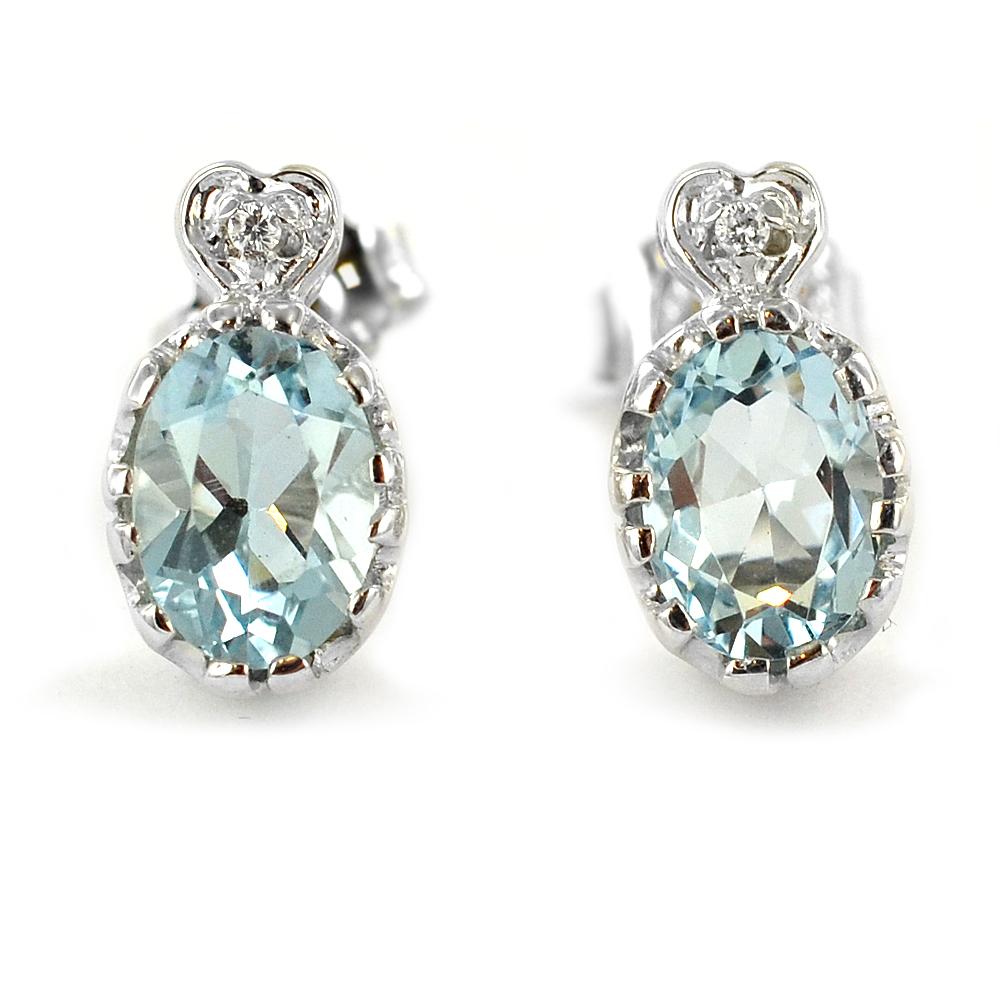 Orecchino con Acquamarina e diamanti su cuore