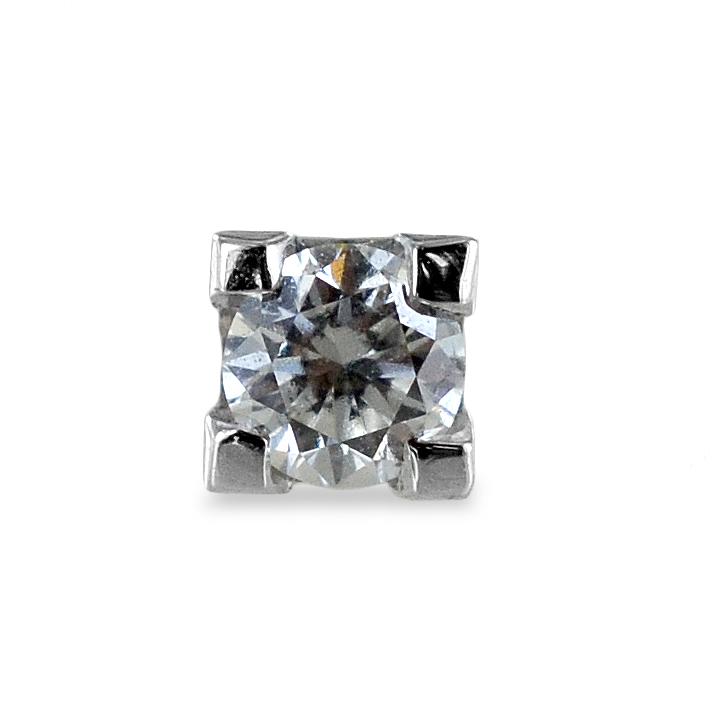 Orecchino punto luce da uomo in oro bianco e diamante ct. 0.10 G