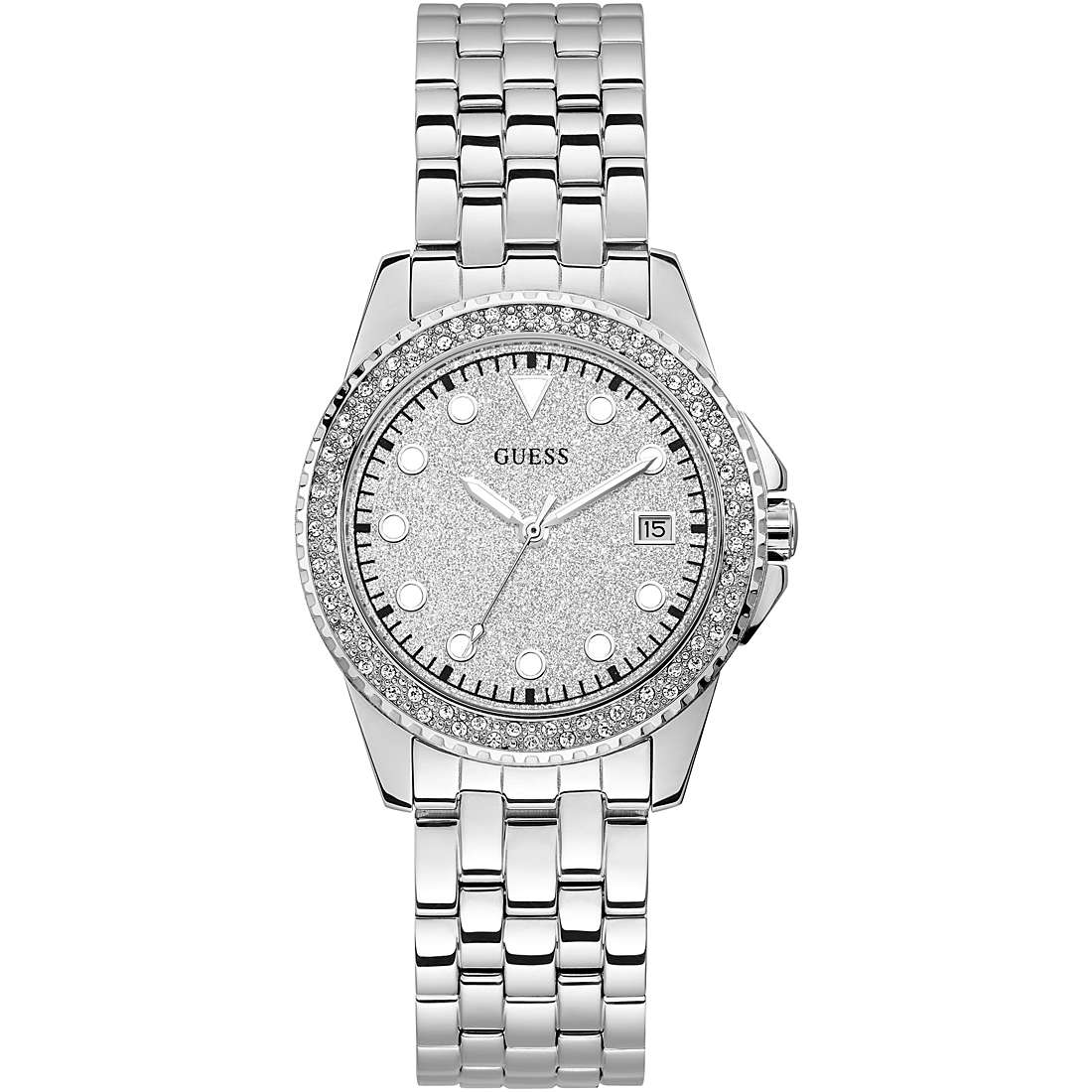 Orologio Guess da Donna argentato quadrante glitter W1235L1