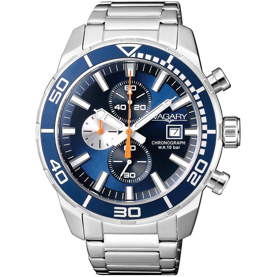 Orologio Vagary da uomo blu acciaio crono IA9-616-71