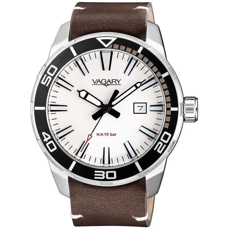Orologio Vagary da uomo in pelle bianco e nero solo tempo IB8-011-61
