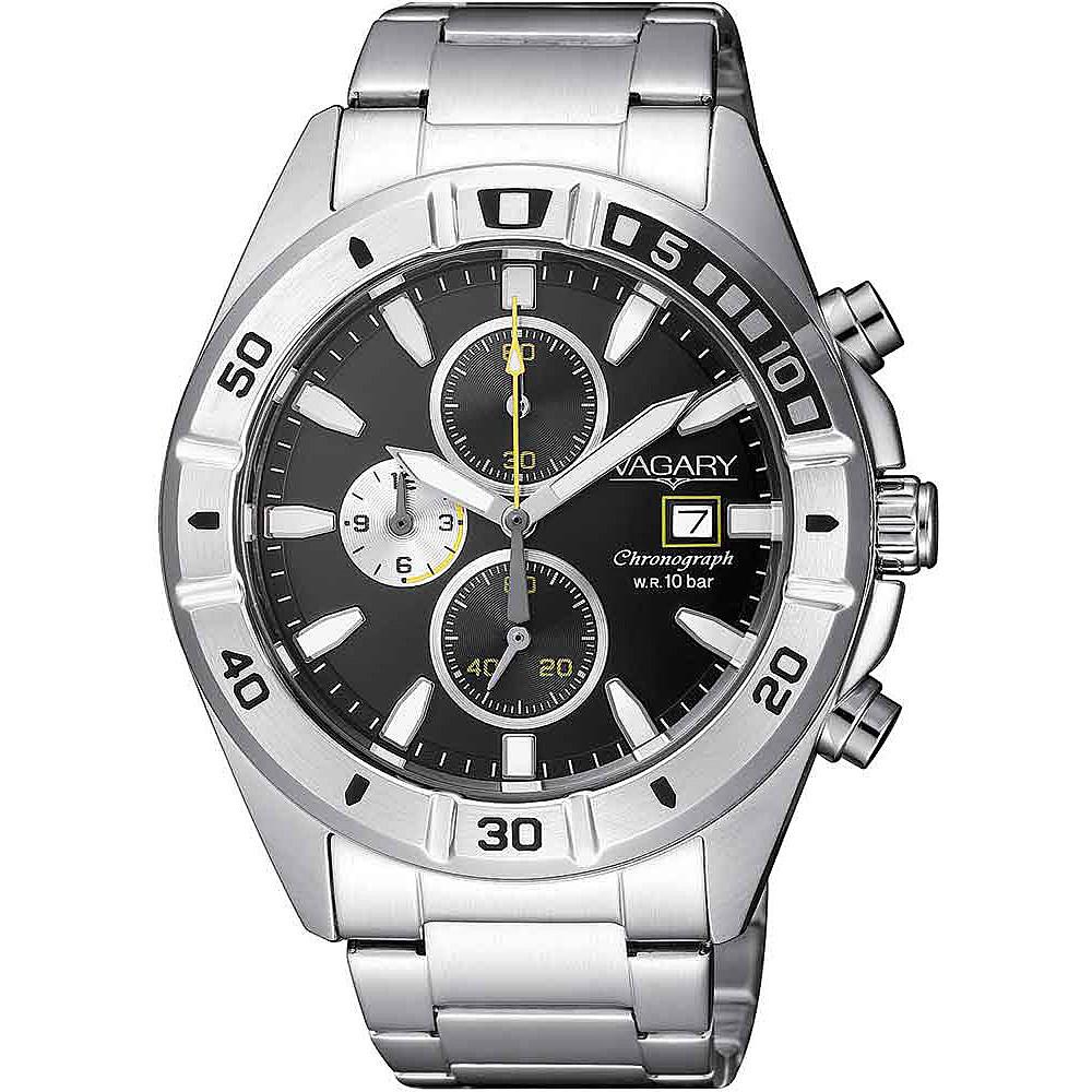 Orologio Vagary da uomo nero acciaio crono IA9-918-51
