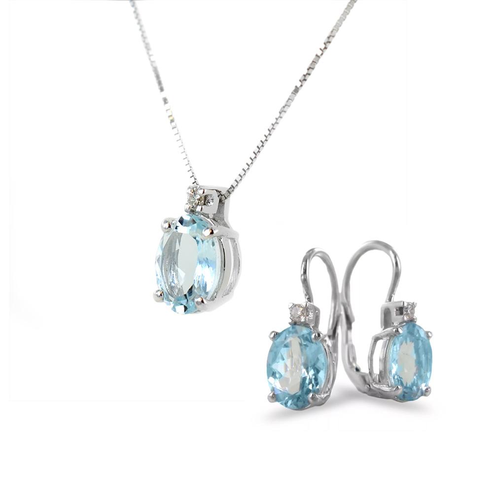 Parure Collana Orecchini con Acquamarina Ovale e Diamanti