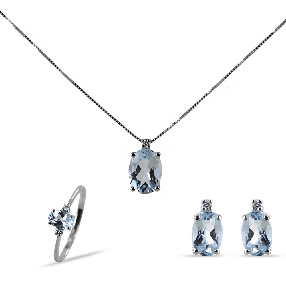 Parure Gioielli con Acquamarina ovale e diamanti
