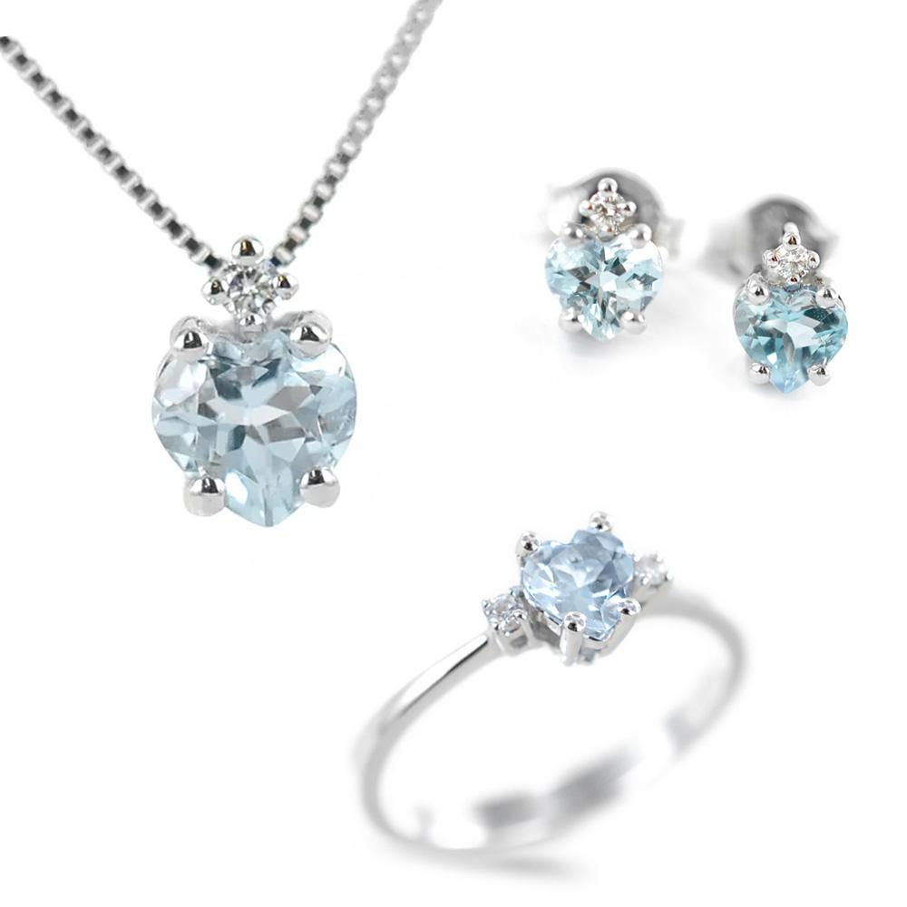 Parure Gioielli Cuore con Acquamarina e diamante