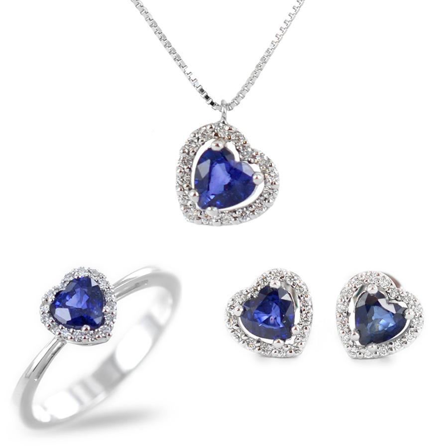 Parure Gioielli Cuore con Zaffiro blu e diamanti