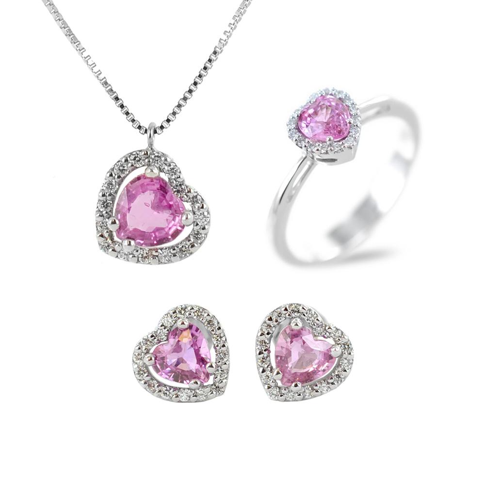 Parure Gioielli Cuore con Zaffiro rosa e diamanti