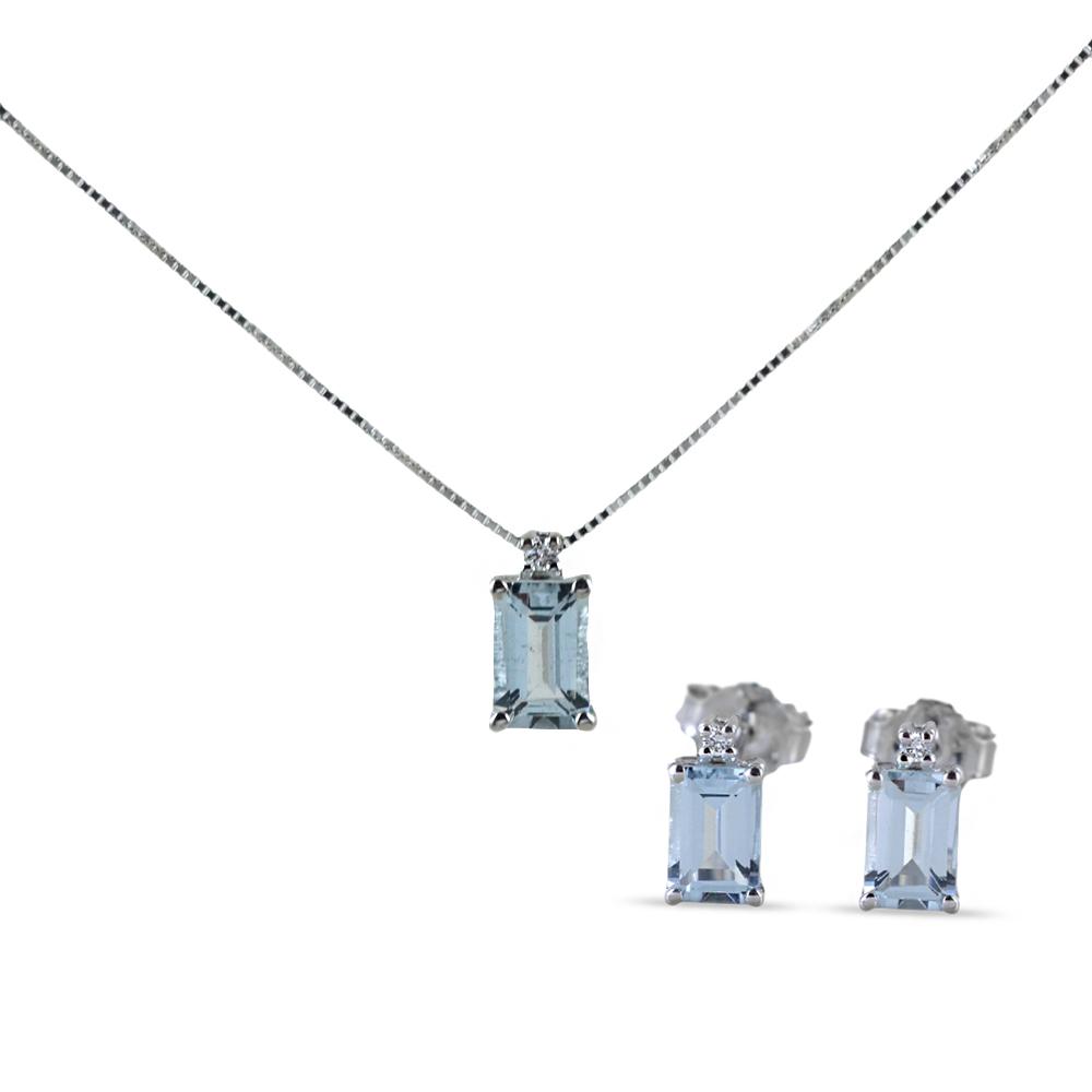 Parure Gioielli Orecchini e Collana con Acquamarina Rettangolare e diamanti