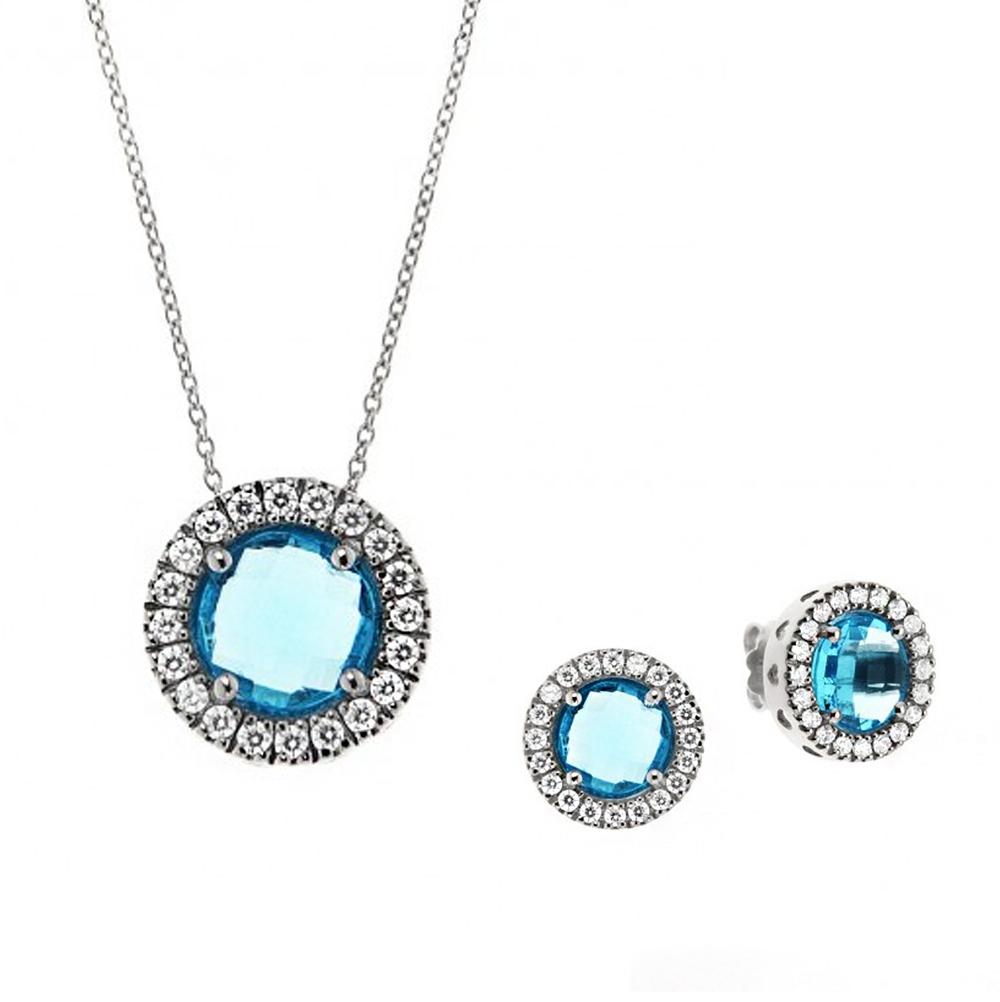 Parure Gioielli Orsini in argento con zircone centrale azzurro rotondo e zirconi bianchi
