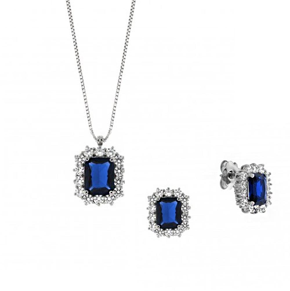 Parure Gioielli Orsini in argento e zircone rettangolare Blu