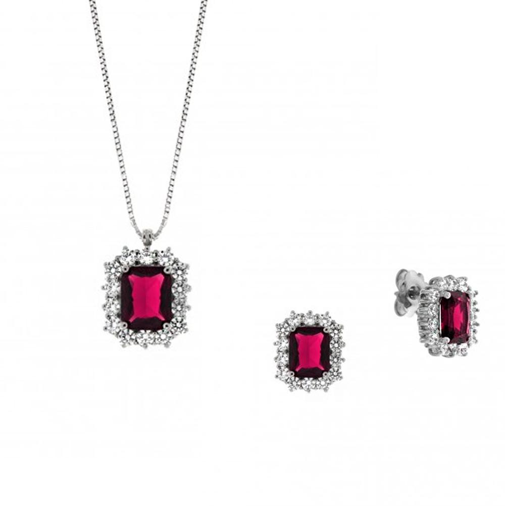 Parure Gioielli Orsini in argento e zircone rettangolare Rosso