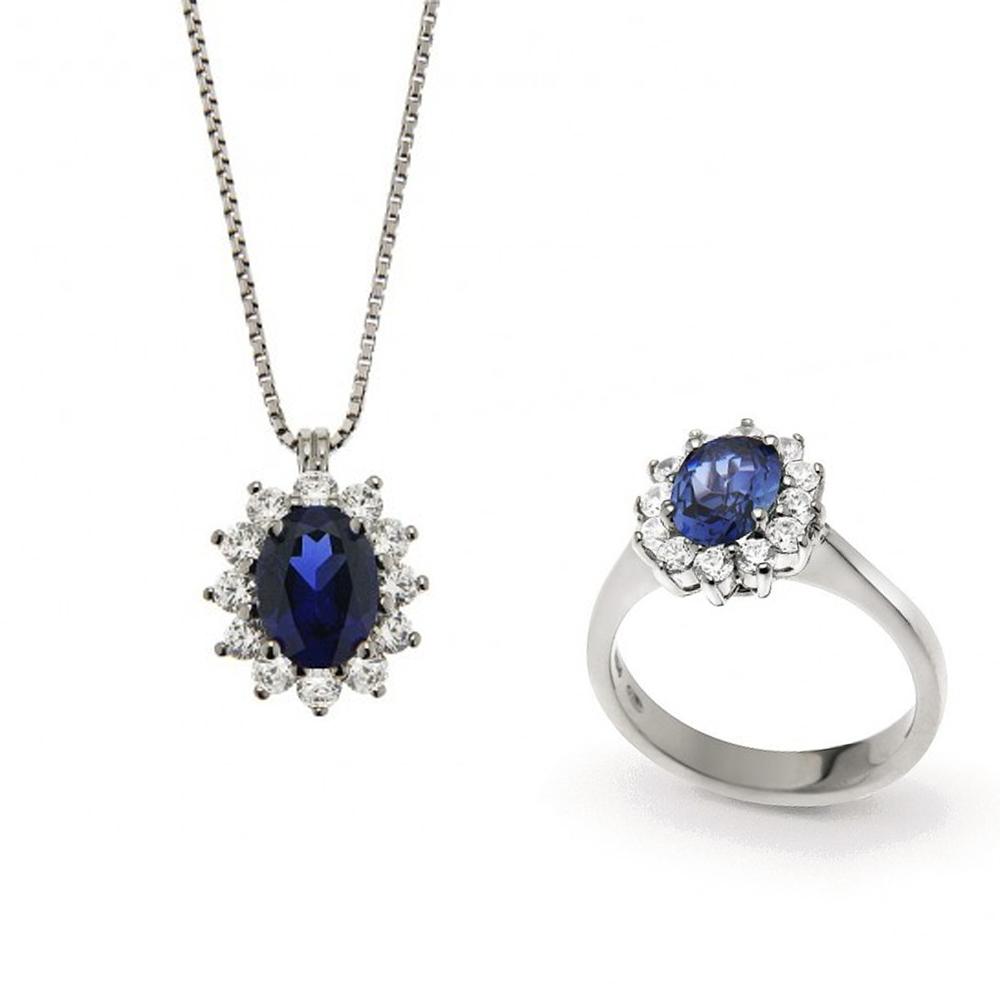 Parure Gioielli Orsini rosetta in argento e zircone Blu