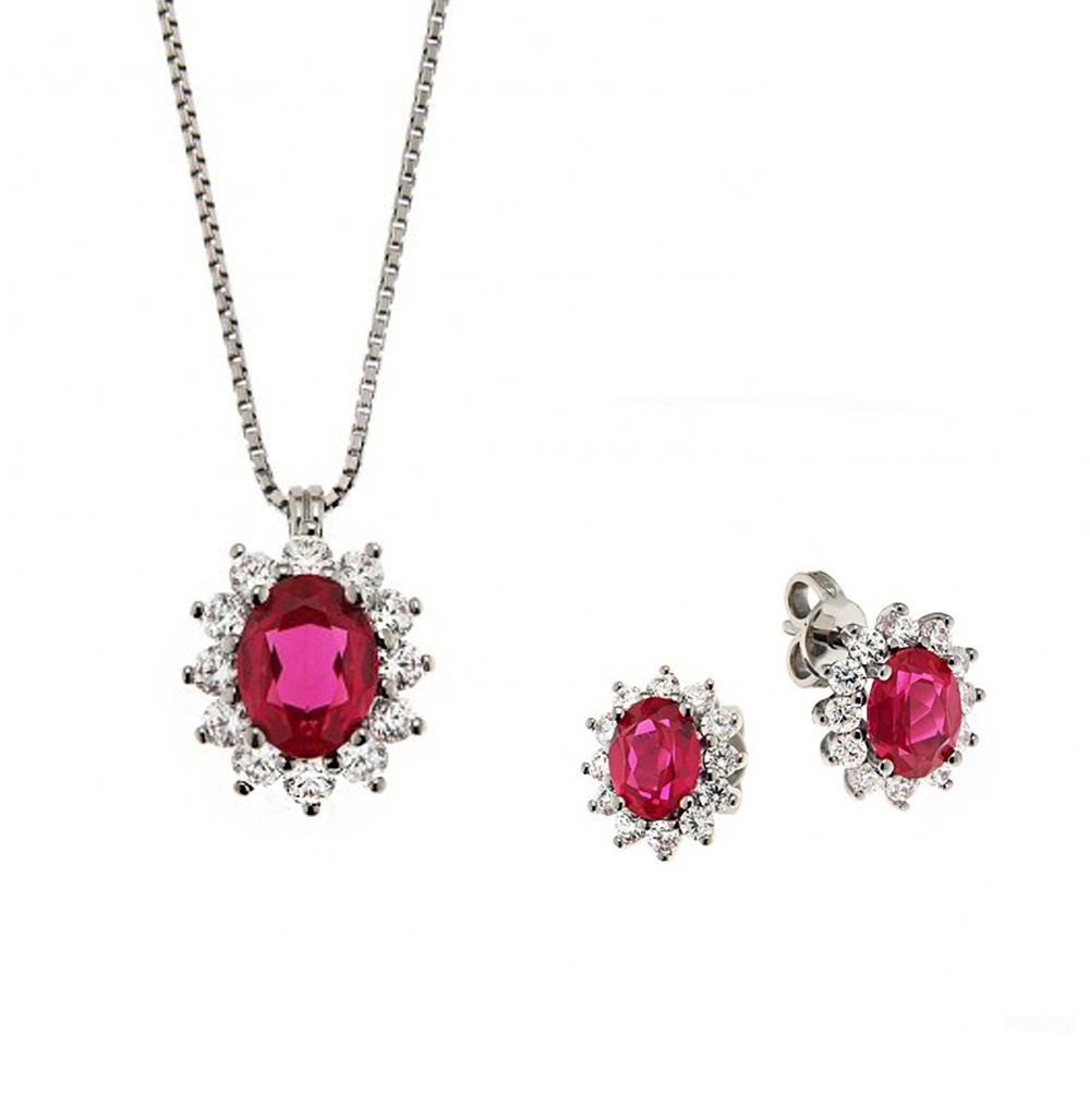 Parure Gioielli Orsini rosetta in argento e zircone rosso