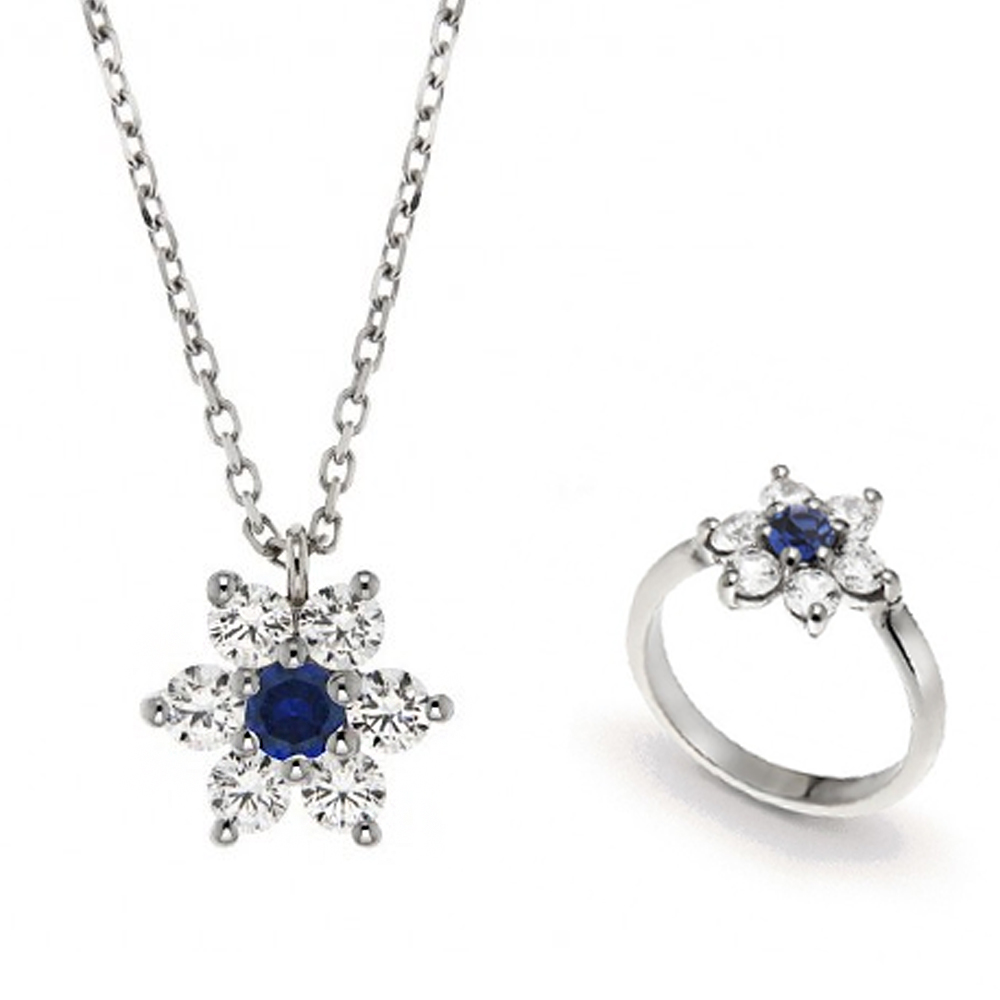 Parure Gioielli Orsini stella in argento zircone blu e zirconi bianchi