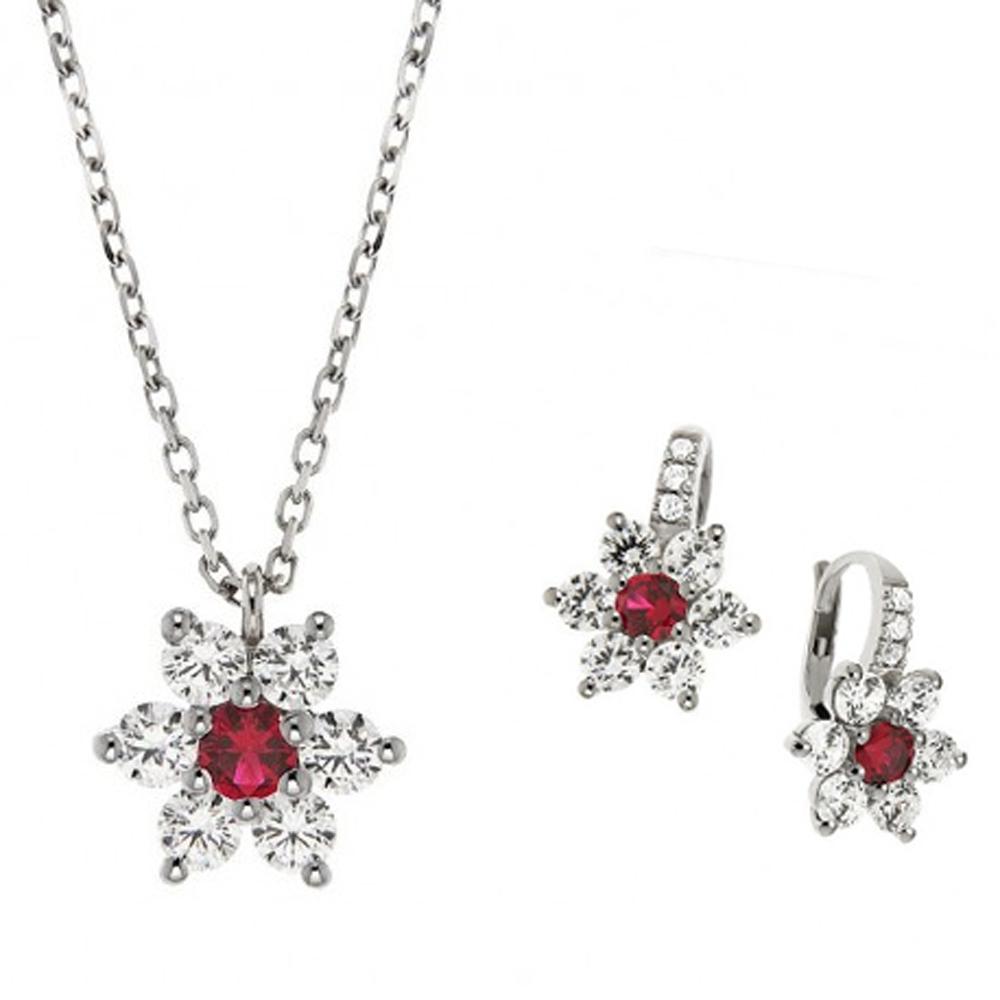 Parure Gioielli Orsini stella in argento zircone rosso e zirconi bianchi